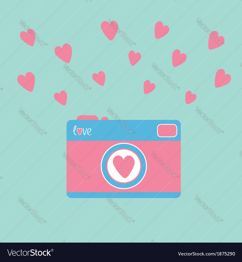 Photo camera with hearts love card vector | Price: 1 Credit (USD $1)
