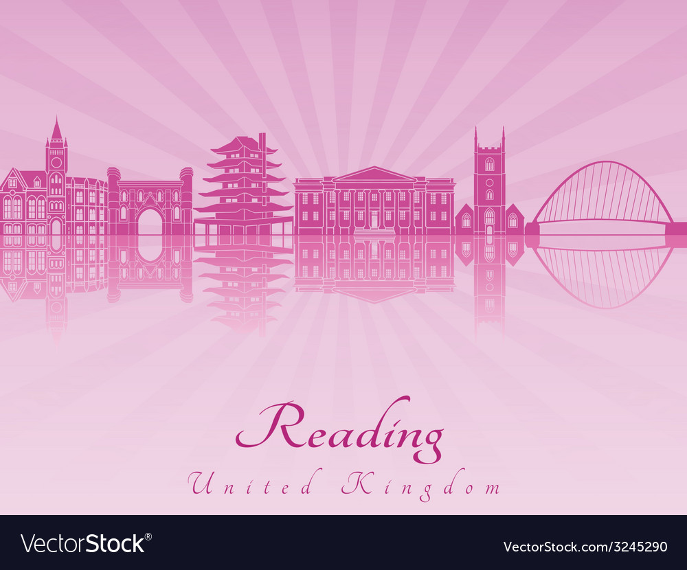Reading skyline in purple radiant orchid vector | Price: 1 Credit (USD $1)