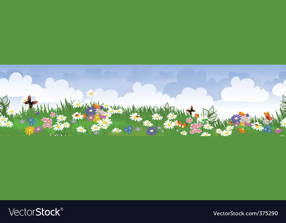 Seamless flower fields vector | Price: 1 Credit (USD $1)