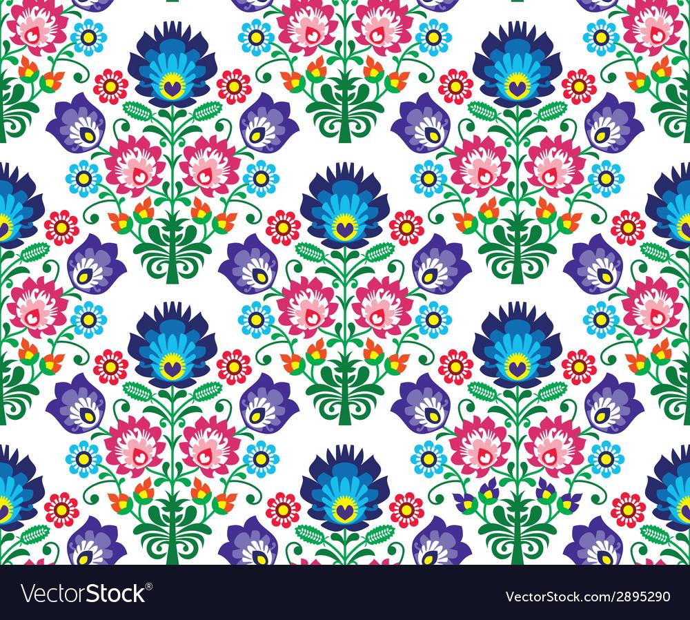 Seamless polish slavic folk art floral pattern - vector