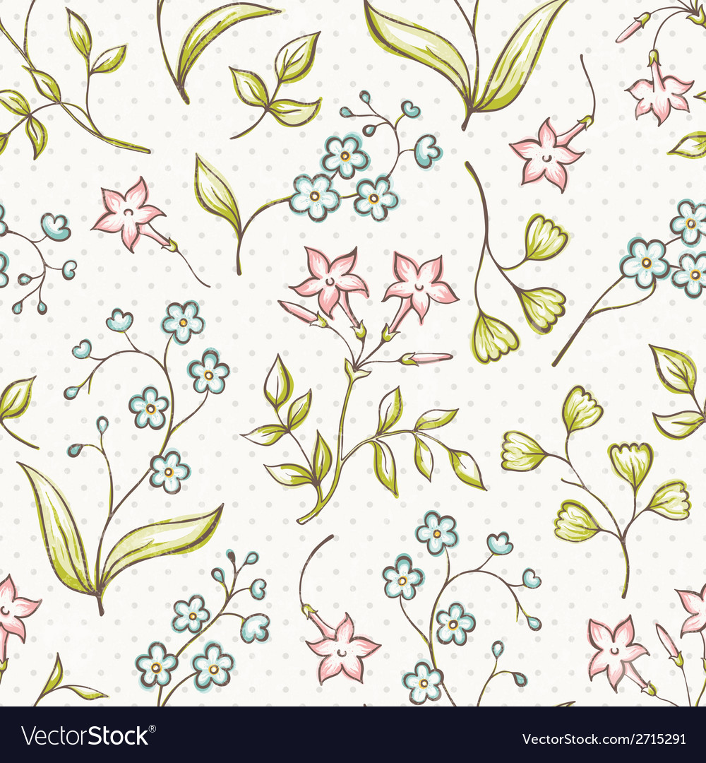 Beautiful seamless pattern with forget-me not and vector | Price: 1 Credit (USD $1)