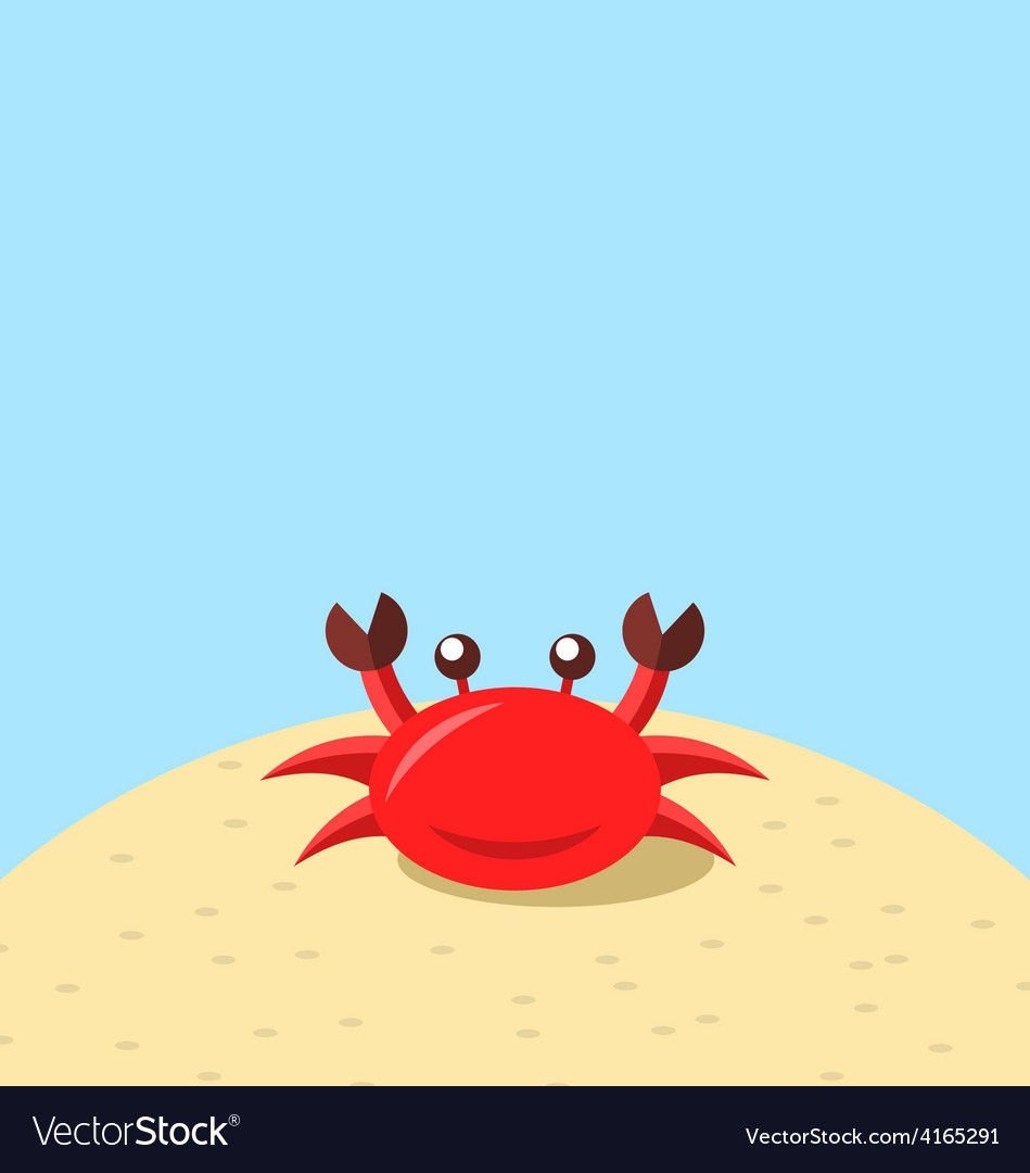 Cartoon cheerful crab at the beach natural vector | Price: 1 Credit (USD $1)