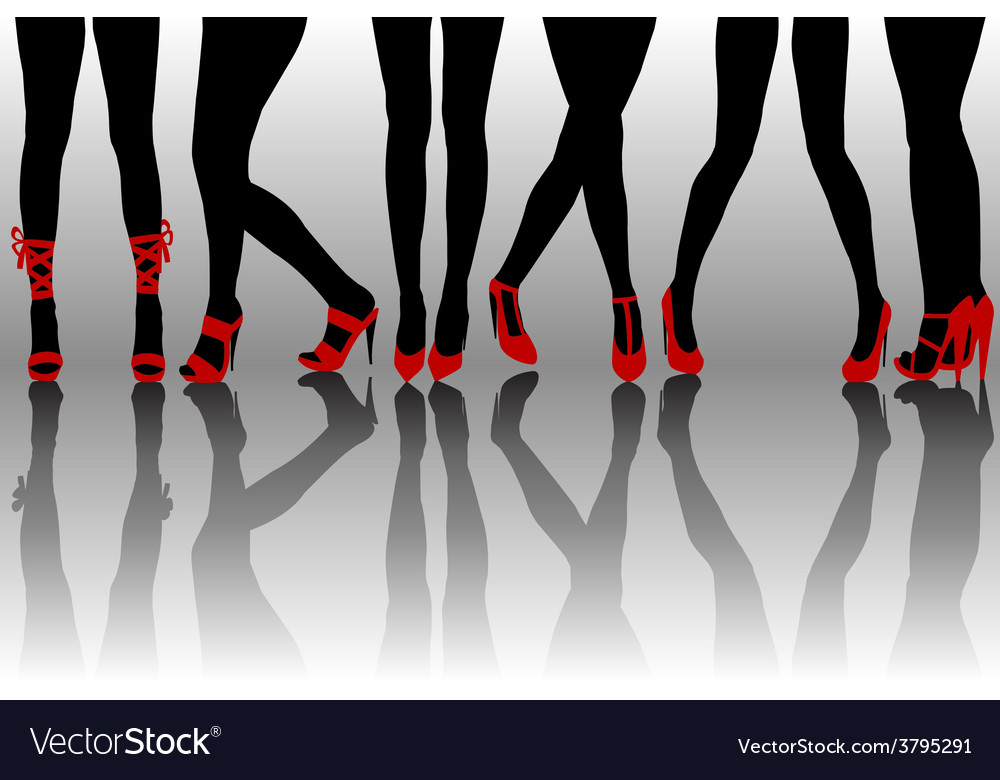 Female legs silhouettes with red shoes vector | Price: 1 Credit (USD $1)