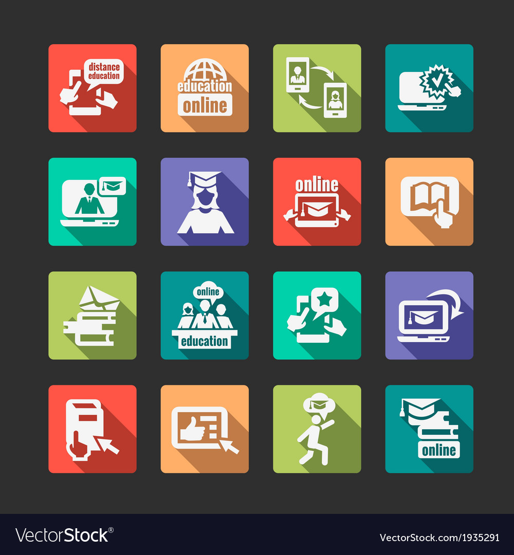 Flat online education icons vector | Price: 1 Credit (USD $1)