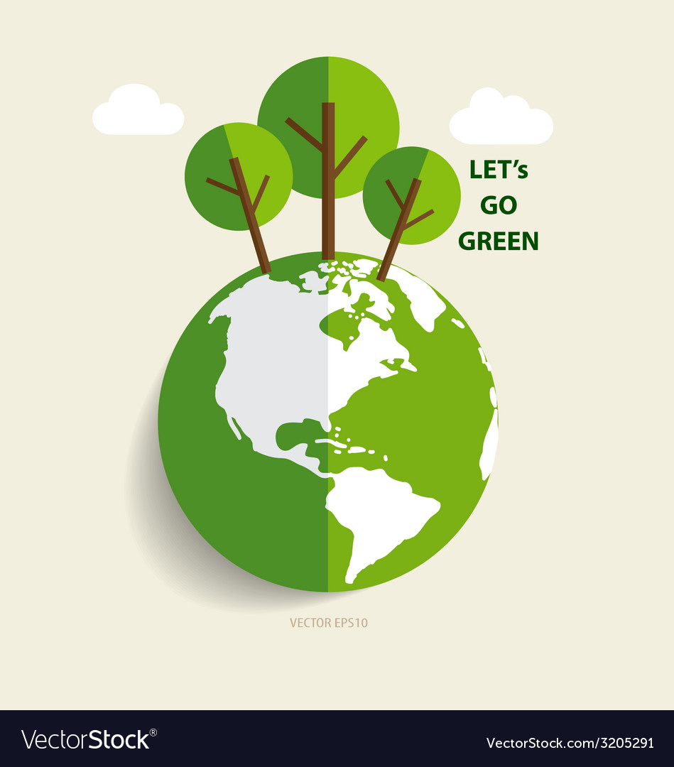 Green eco earth green earth with trees vector | Price: 1 Credit (USD $1)