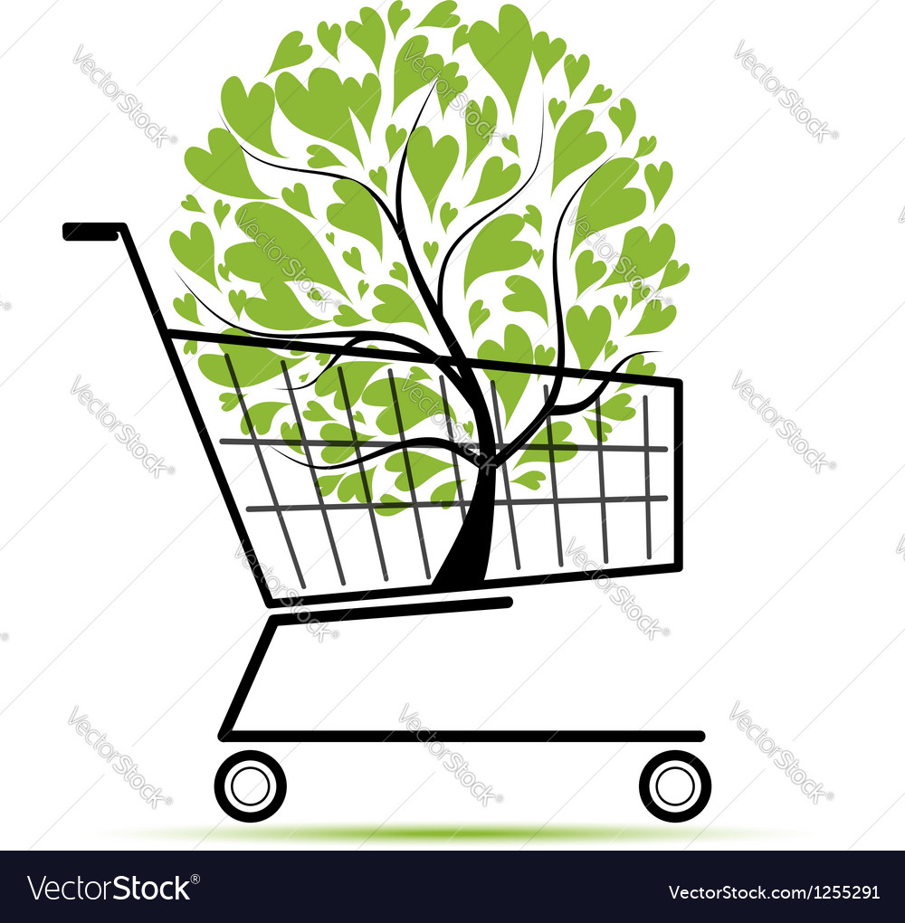 Green tree in shopping cart for your design vector | Price: 1 Credit (USD $1)
