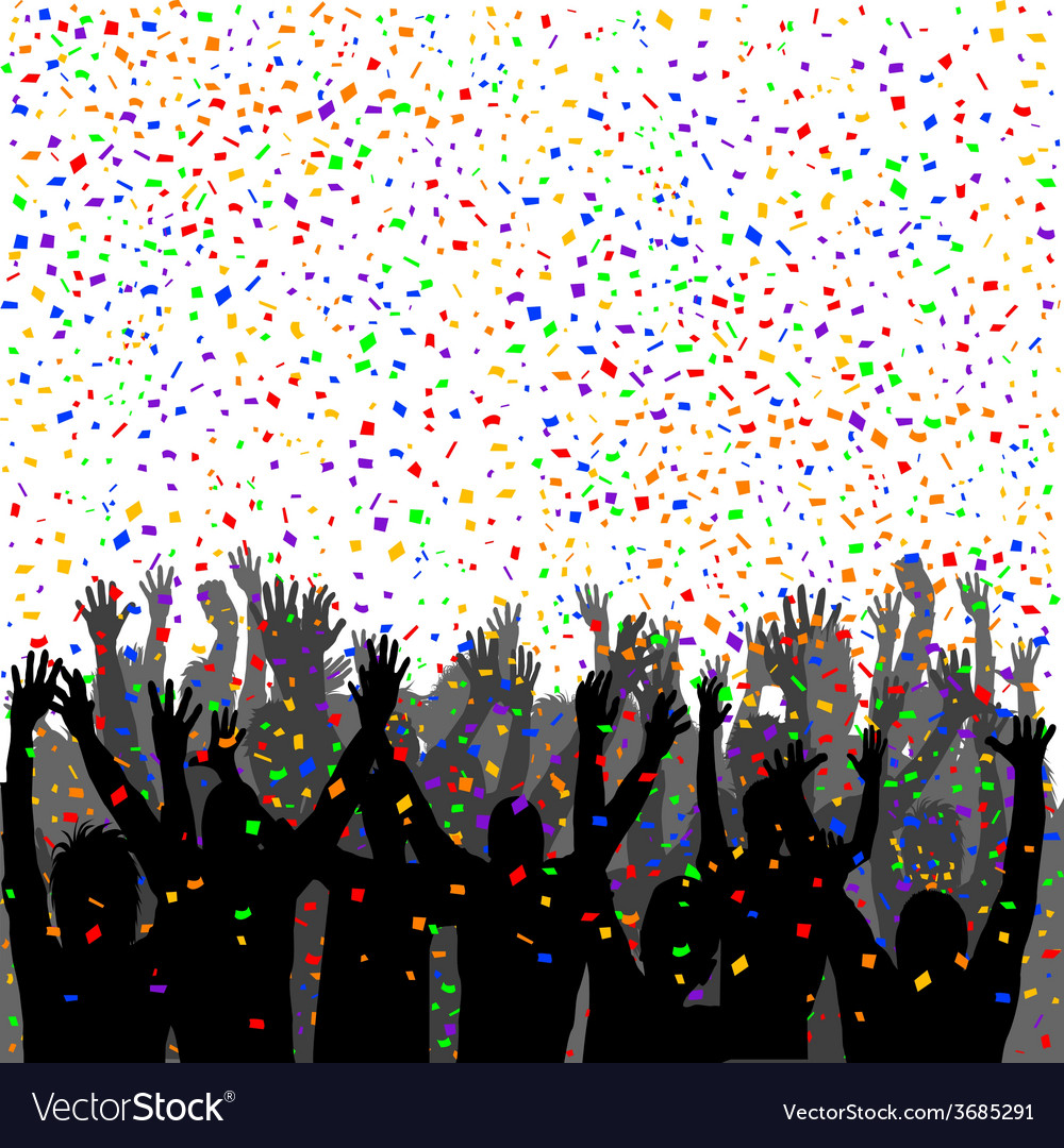 People silhouettes enjoying confetti vector | Price: 1 Credit (USD $1)