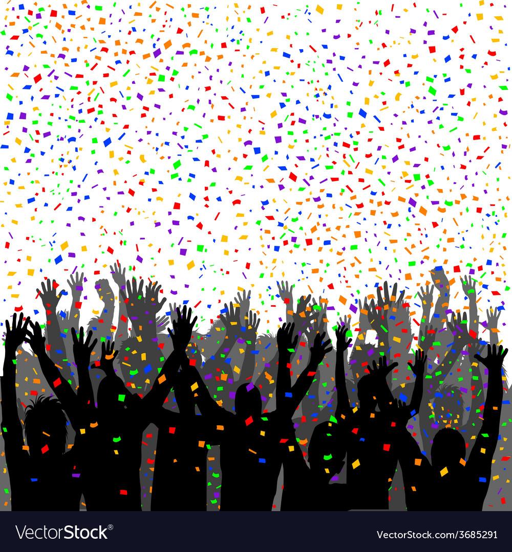People silhouettes enjoying confetti vector