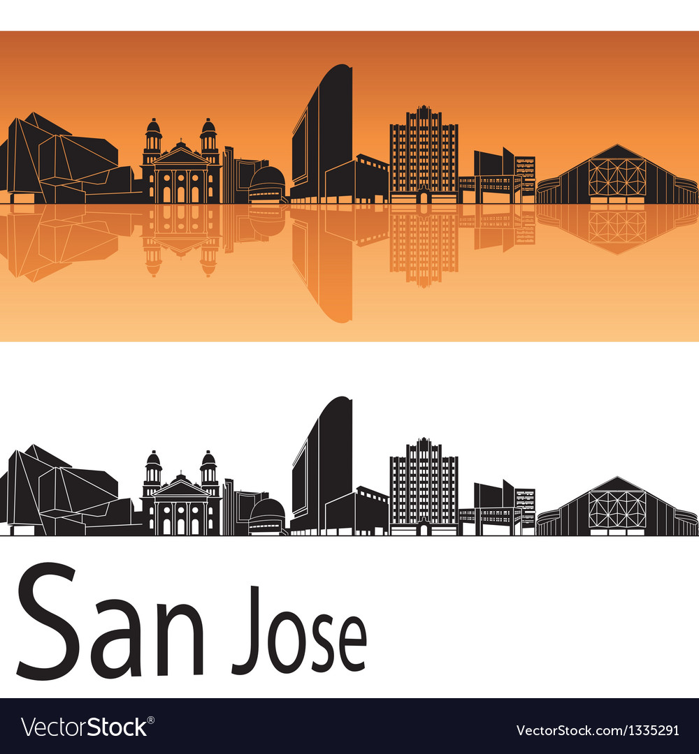 San jose skyline in orange background vector | Price: 1 Credit (USD $1)