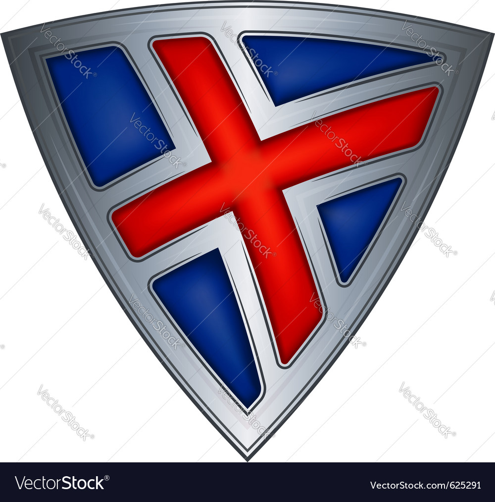 Steel shield with flag iceland vector | Price: 1 Credit (USD $1)