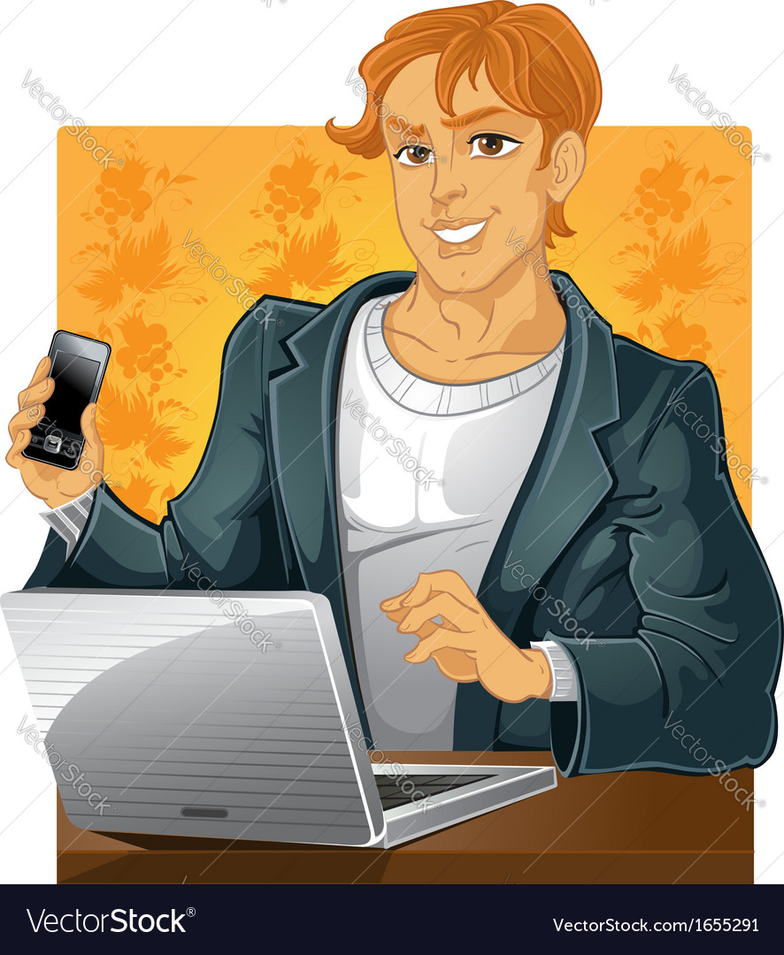 Young men with phone and laptop on vector | Price: 3 Credit (USD $3)