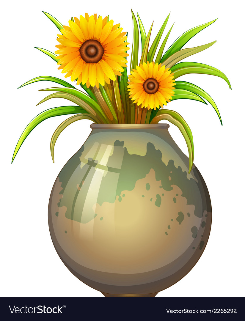 A pot with yellow flowers vector | Price: 1 Credit (USD $1)