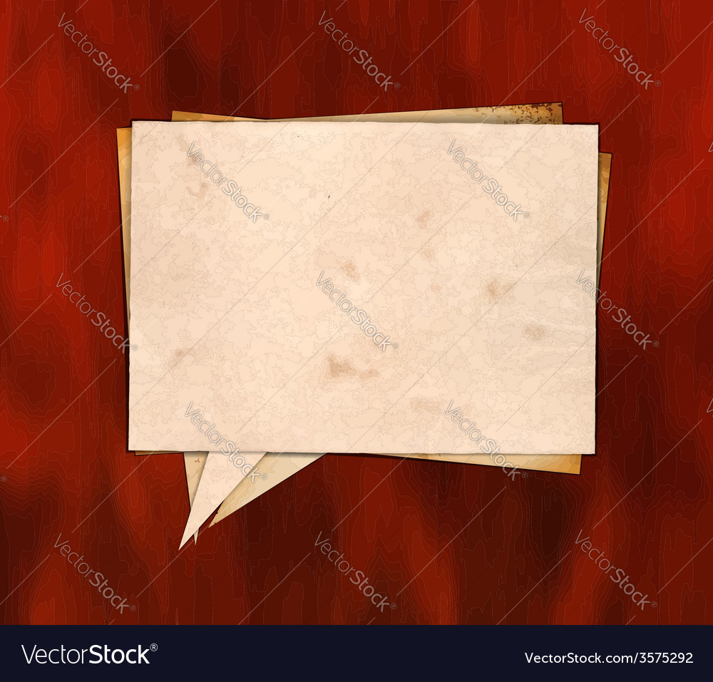 Aged paper speech bubble on the wood vector | Price: 1 Credit (USD $1)