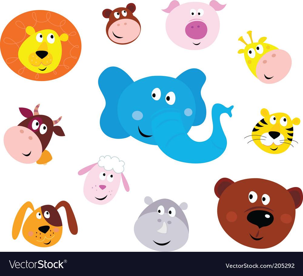Animal emoticons vector | Price: 1 Credit (USD $1)