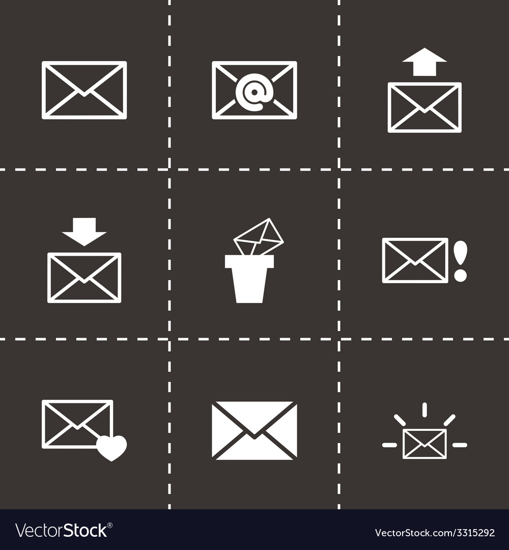 Black email icon set vector   Price: 1 Credit (USD $1)