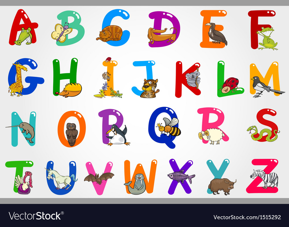 Cartoon alphabet with animals vector | Price: 3 Credit (USD $3)