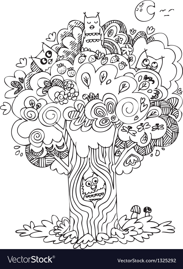 Funny tree with cute howls vector | Price: 1 Credit (USD $1)