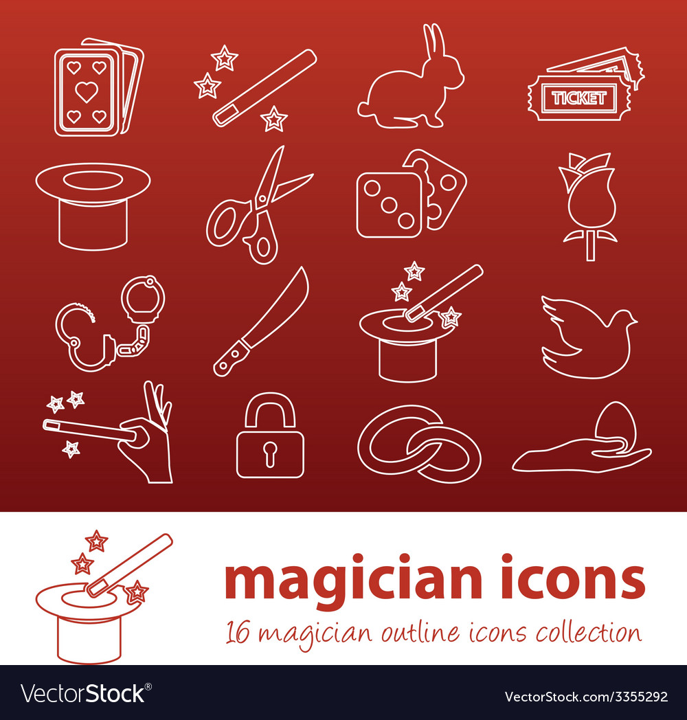 Magician outline icons vector | Price: 1 Credit (USD $1)