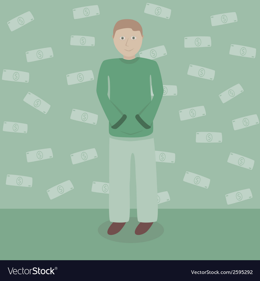 Man with dollars money vector | Price: 1 Credit (USD $1)