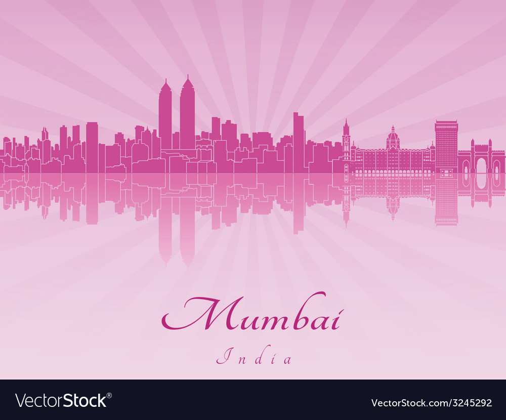 Mumbai skyline in purple radiant orchid vector | Price: 1 Credit (USD $1)