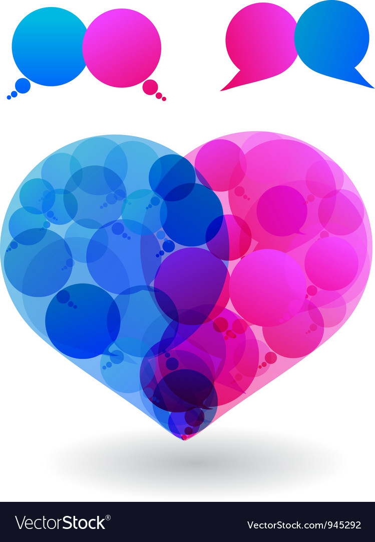 Speech bubbles heart vector | Price: 1 Credit (USD $1)