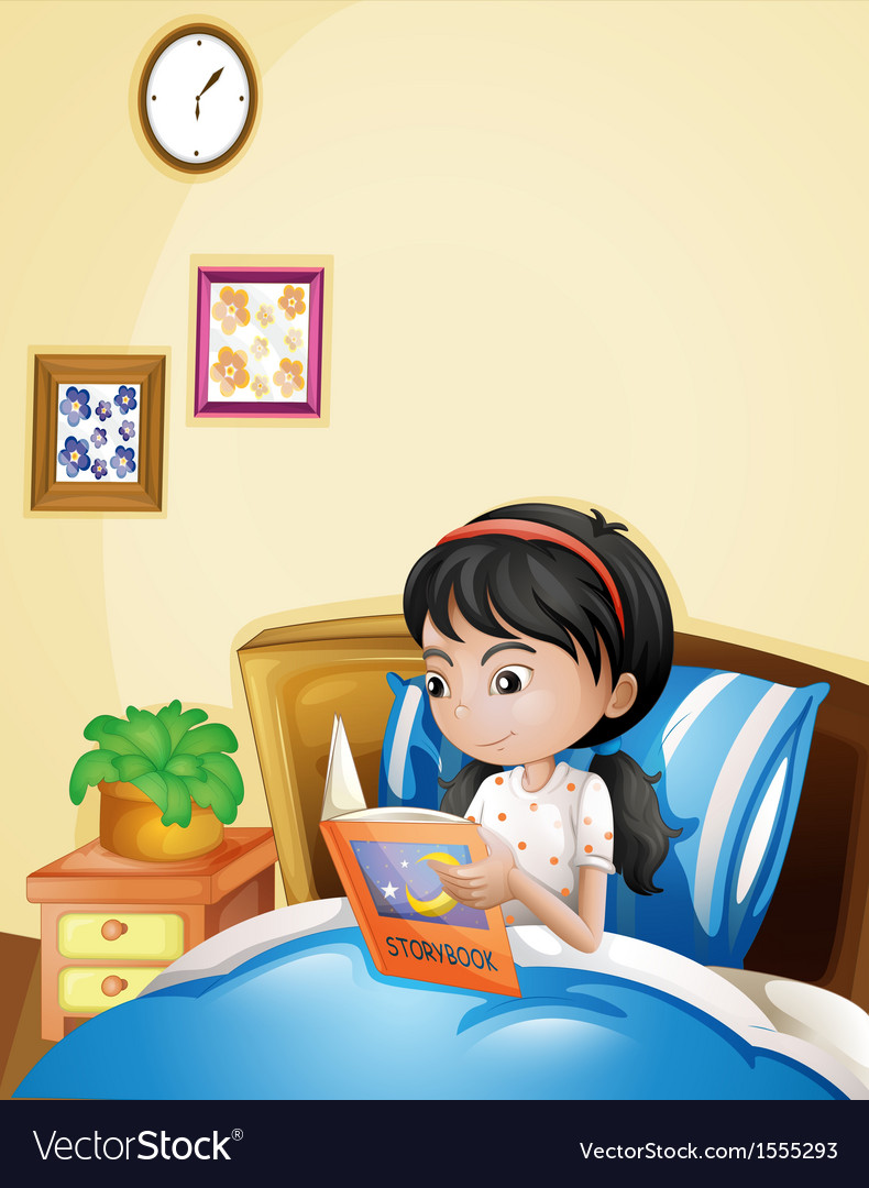 A young lady reading a storybook in her bed vector | Price: 1 Credit (USD $1)