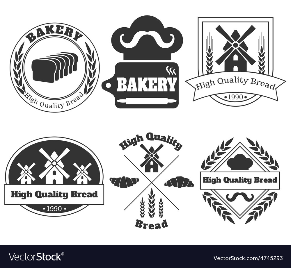 Bundle of the vintage bakery labels vector | Price: 1 Credit (USD $1)