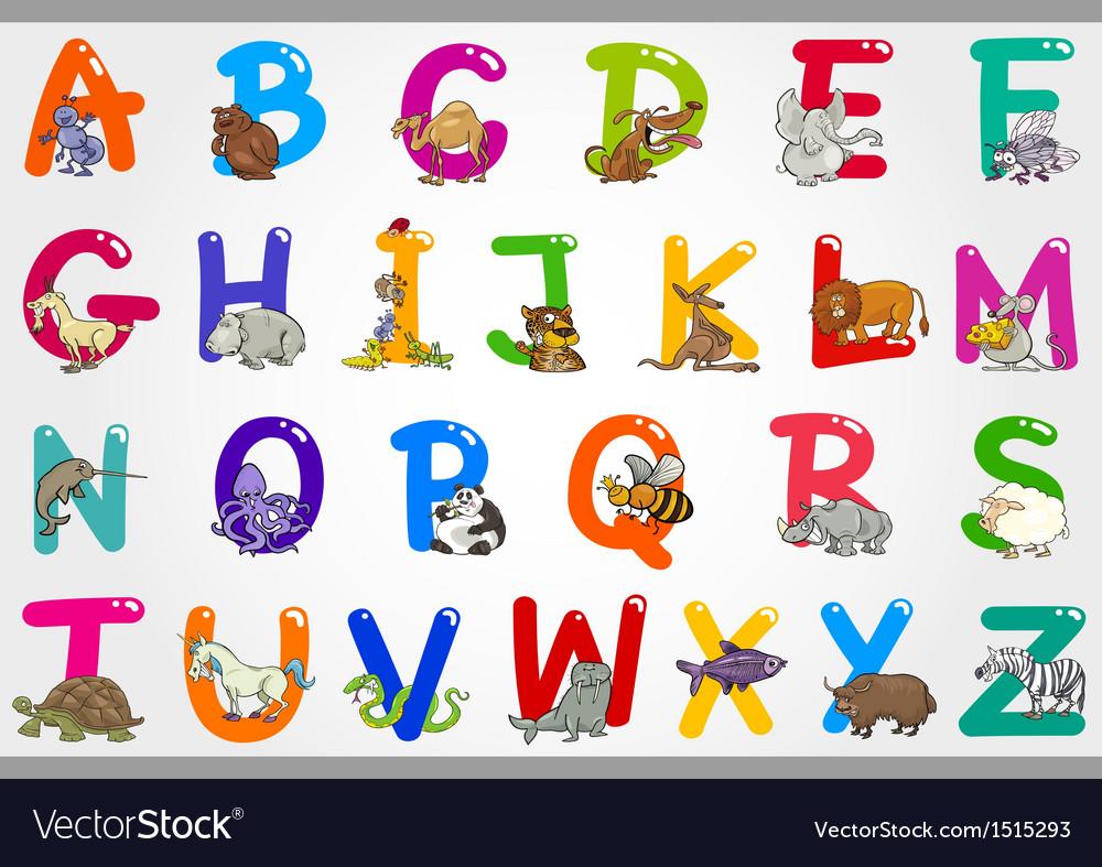 Cartoon alphabet with animals vector | Price: 3 Credit (USD $3)