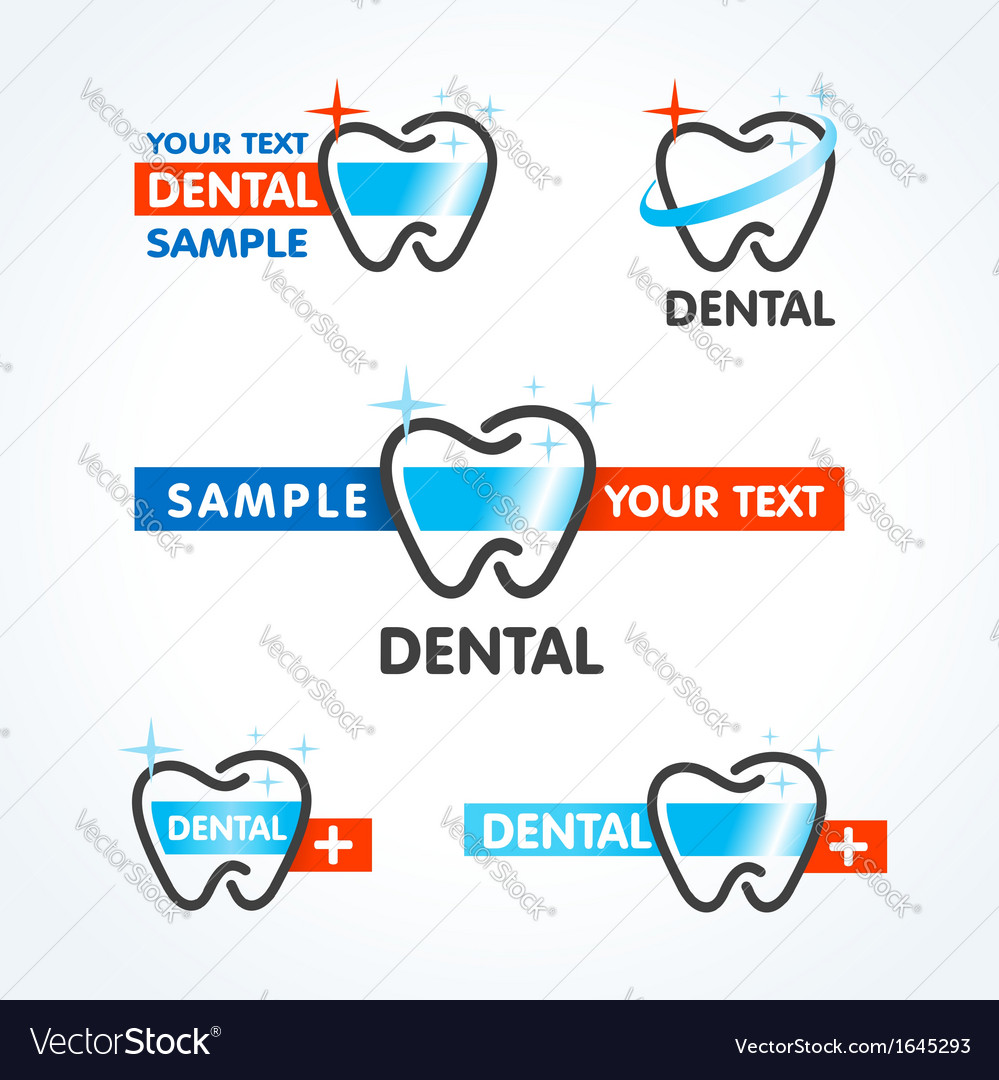 Dental tooth symbol sign icons set vector | Price: 1 Credit (USD $1)