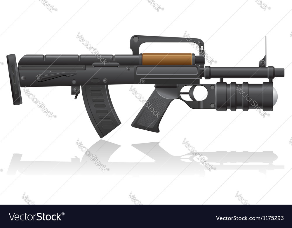 Machine gun with a grenade launcher vector   Price: 1 Credit (USD $1)