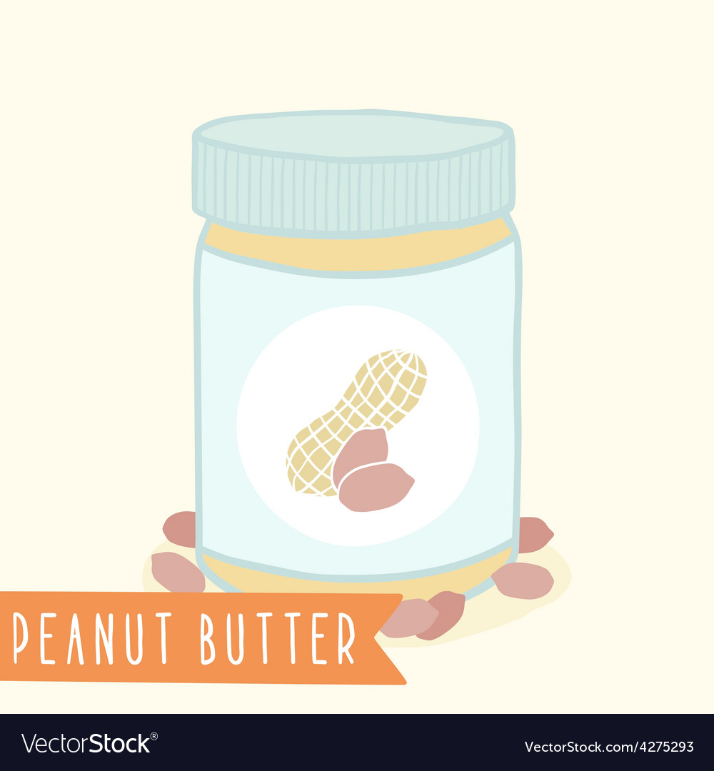 Peanut butter in jar vector | Price: 1 Credit (USD $1)