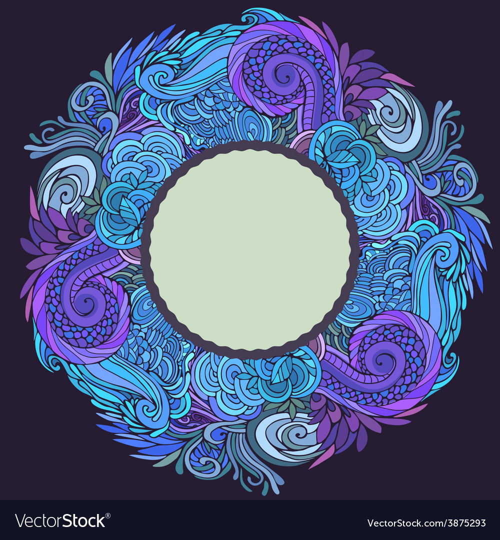 Round frame winter ornate vector | Price: 1 Credit (USD $1)