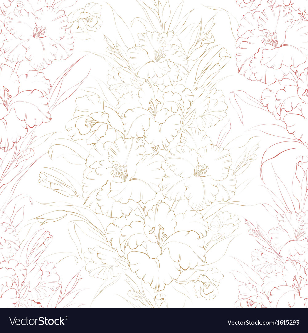 Seamless pattern beautiful fresh iris flowers vector | Price: 1 Credit (USD $1)