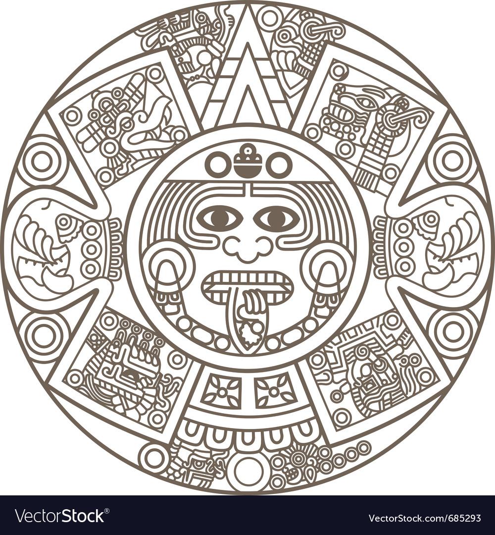 Stylized aztec calendar vector | Price: 1 Credit (USD $1)