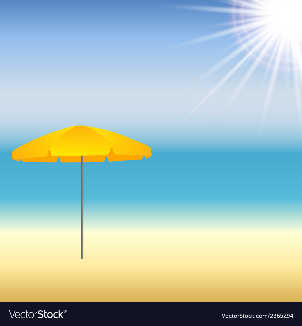 Beach with parasol and sun vector | Price: 1 Credit (USD $1)