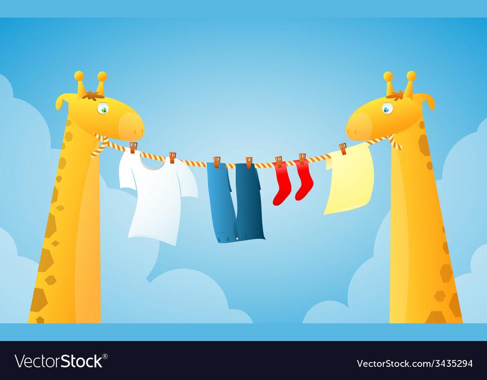 Cartoon giraffes doing laundry vector | Price: 1 Credit (USD $1)