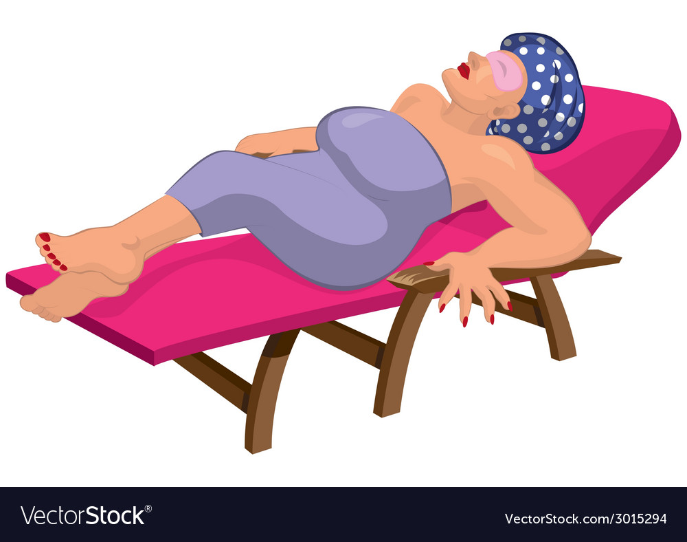 Cartoon woman in robe with eye mask on the beach vector | Price: 1 Credit (USD $1)