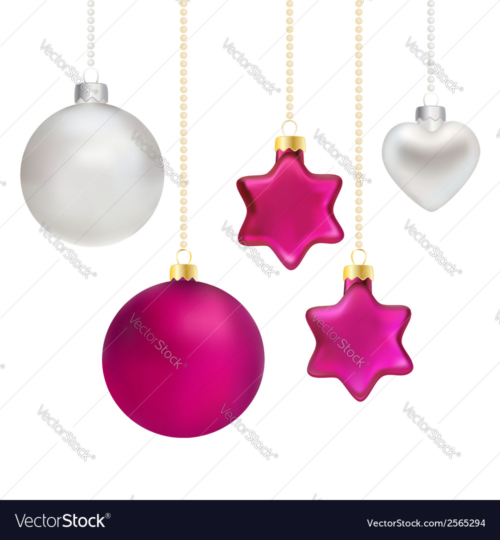 Christmas decorations in silver and magenta vector | Price: 1 Credit (USD $1)