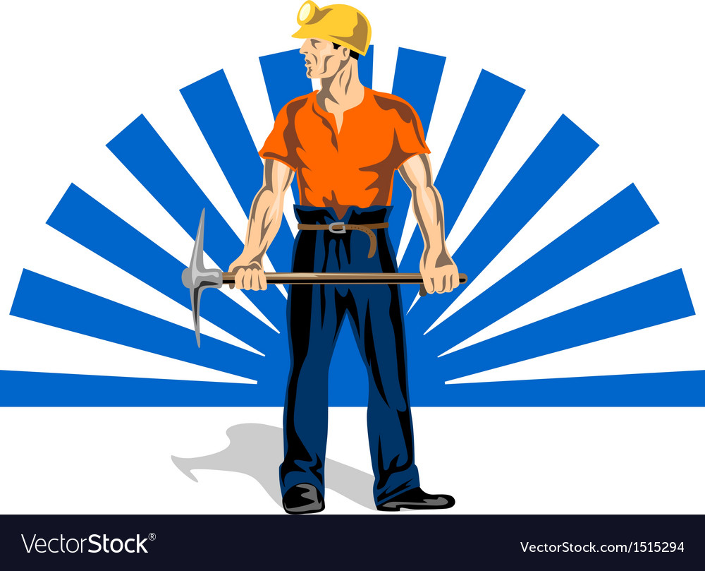 Coal miner with pick axe vector | Price: 1 Credit (USD $1)