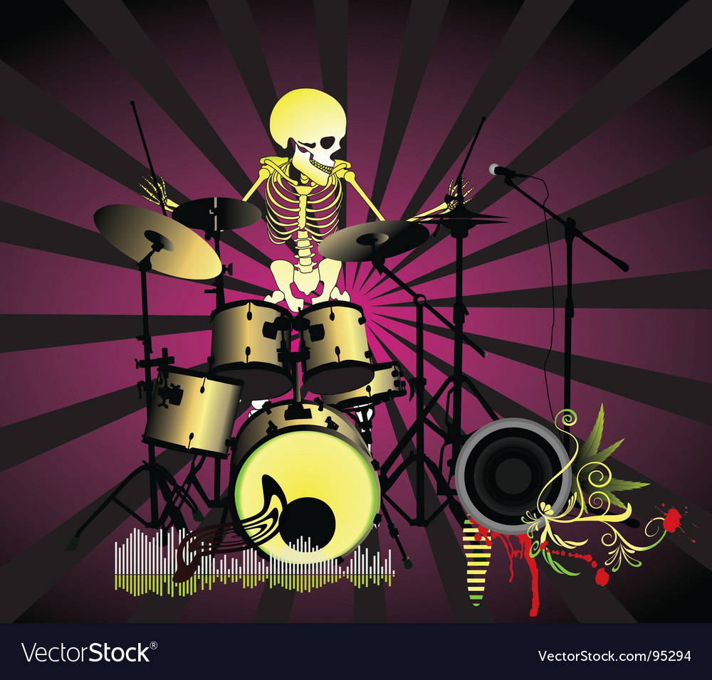 Music poster skeleton vector | Price: 1 Credit (USD $1)