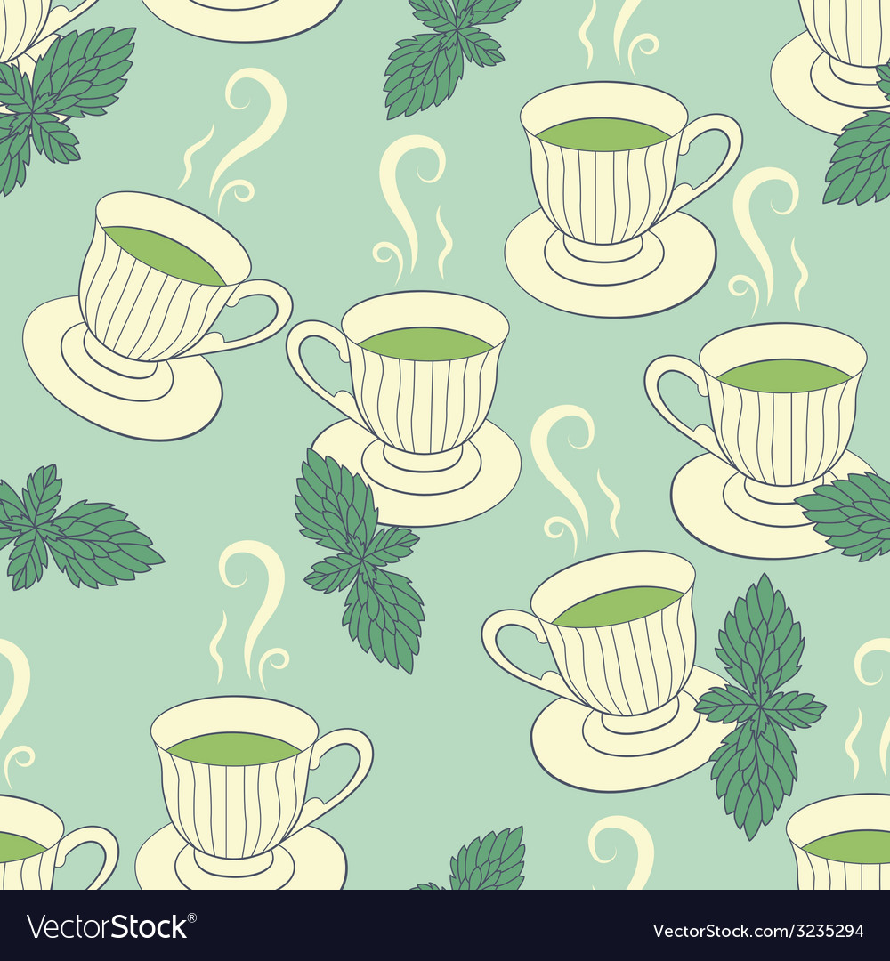 Seamless pattern with hand drawing cups and mint vector | Price: 1 Credit (USD $1)