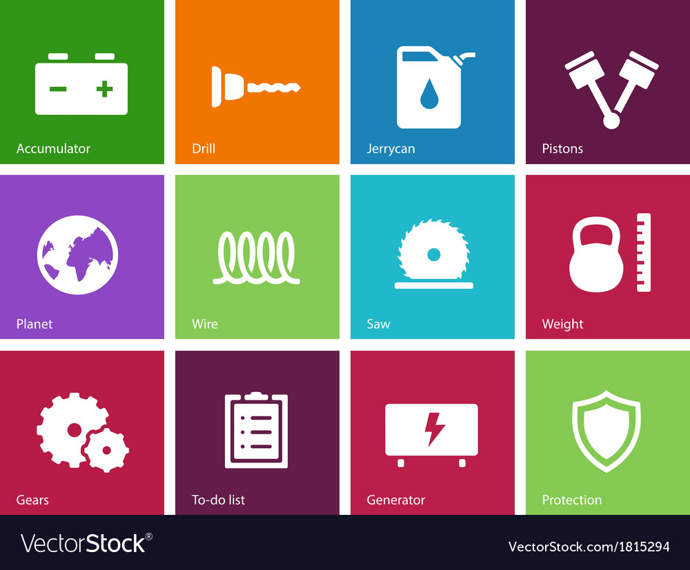 Tools icons on color background vector | Price: 1 Credit (USD $1)