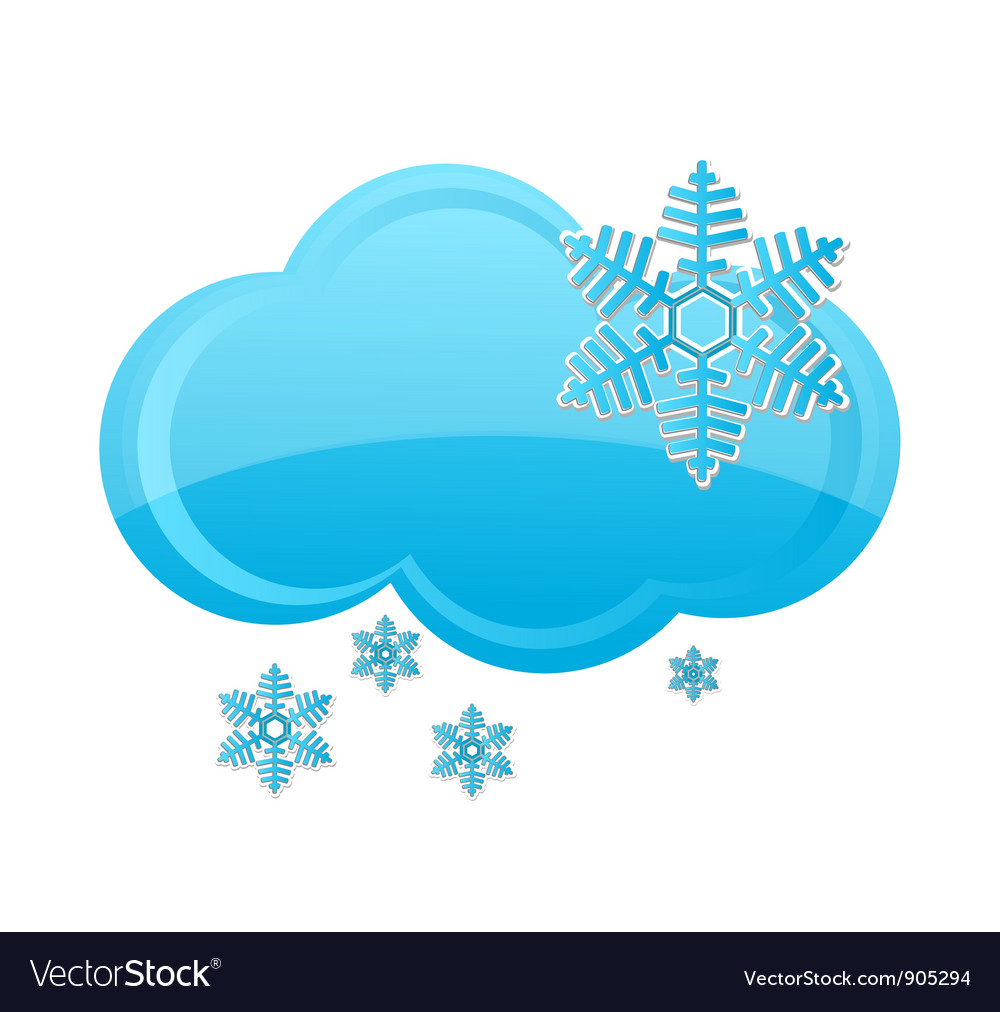 Weather snow cloud symbol blue color vector | Price: 1 Credit (USD $1)