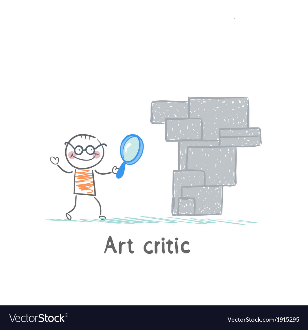 Art critic looks at the work of art through a vector | Price: 1 Credit (USD $1)