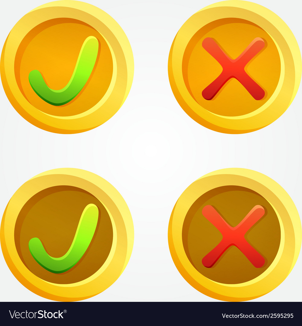 Bright check and cross buttons in yellow circles vector | Price: 1 Credit (USD $1)