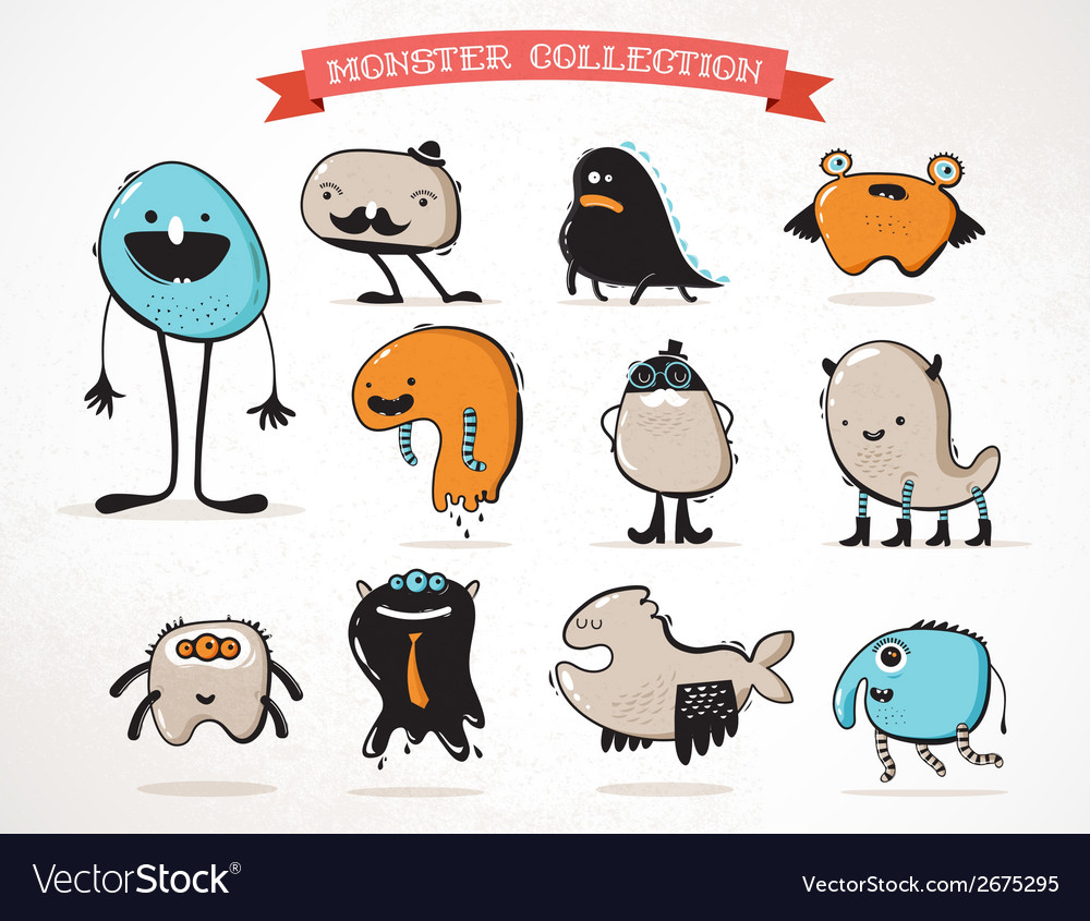 Cute monsters set of vector | Price: 1 Credit (USD $1)