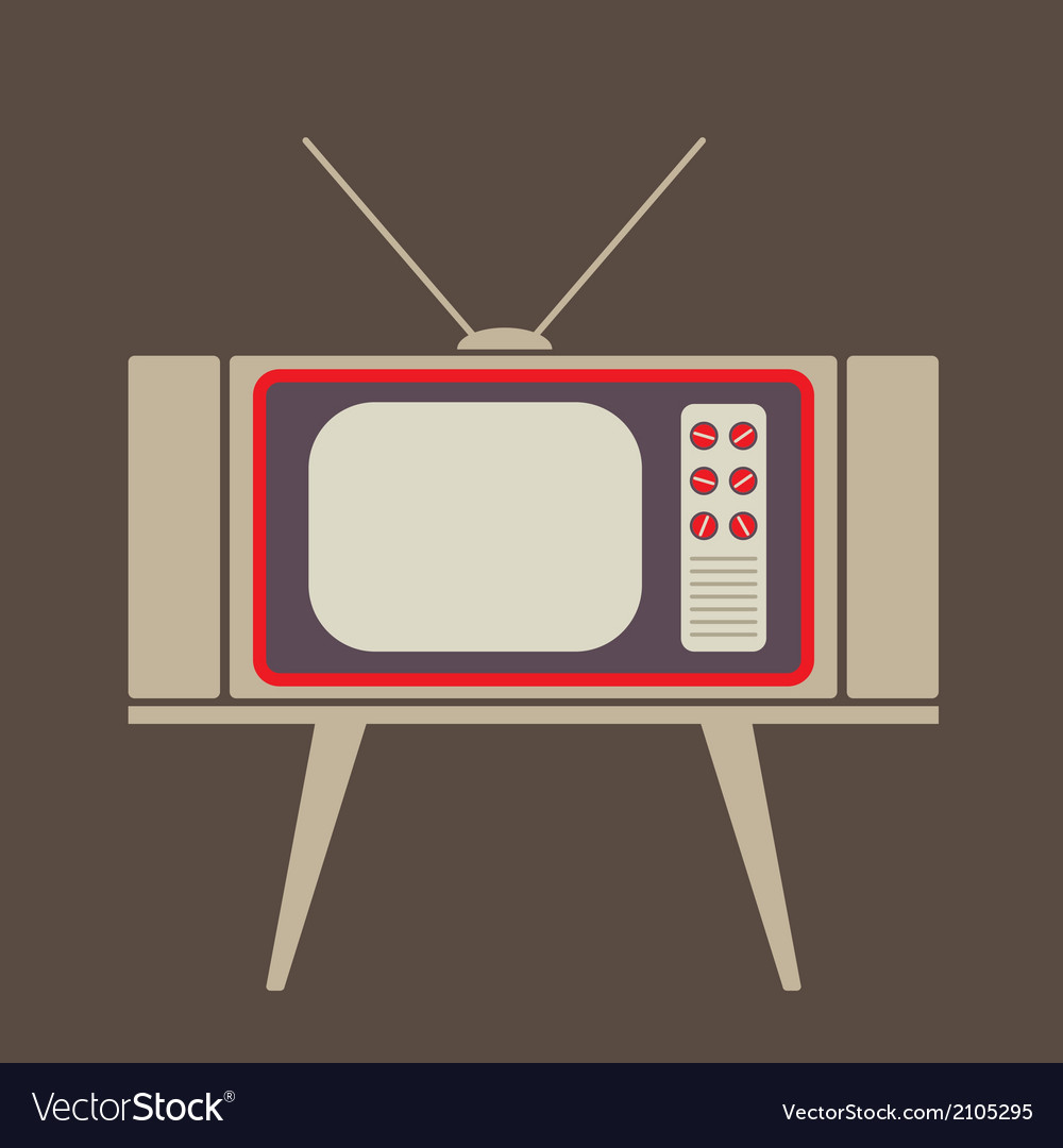 Flat design vintage tv vector | Price: 1 Credit (USD $1)