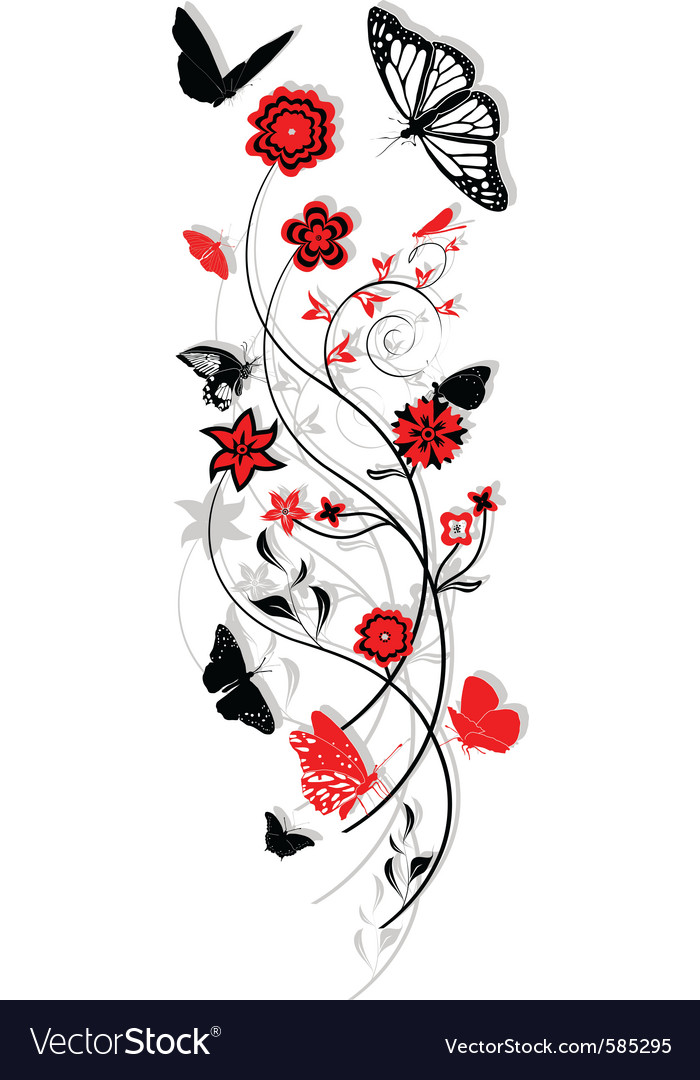 Floral ornament with butterflies vector | Price: 1 Credit (USD $1)