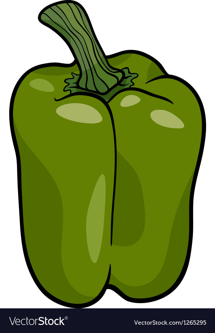 Green pepper vegetable cartoon vector | Price: 1 Credit (USD $1)