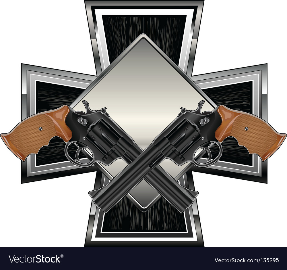 Guns on cross vector | Price: 1 Credit (USD $1)